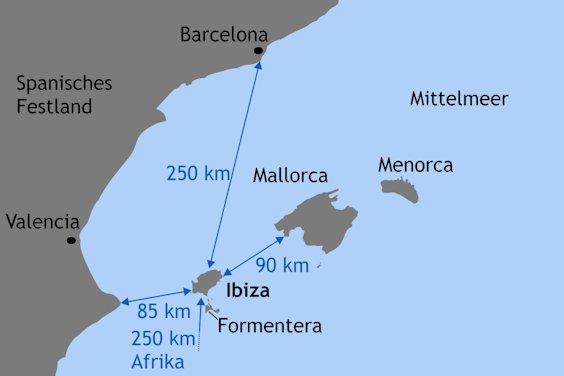 Entfernungen rund um Ibiza
