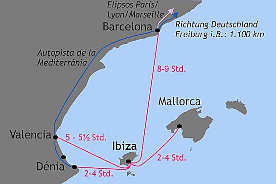 Grafik Fährverbindungen nach Ibiza